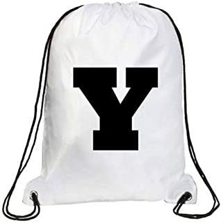 IMPRESS Drawstring Sports Backpack White with Rockwell Letter Y