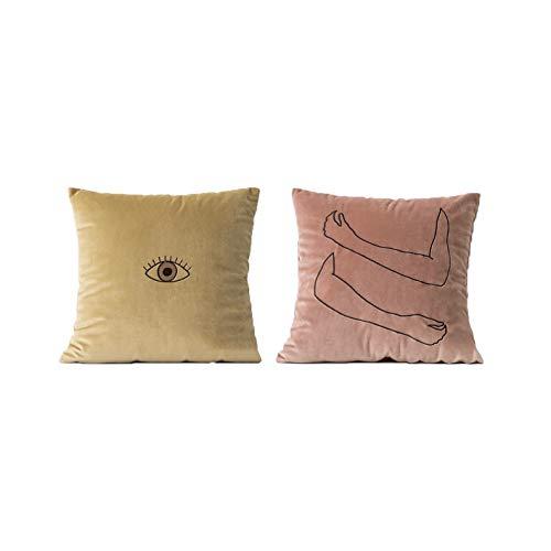 anaan Hejmo Fundas de Cojines Bordado Terciopelo 45x45 cm Almohadas Fundas Cuadradas para Sala de Estar sofás Decorativa Diseño Juego 2