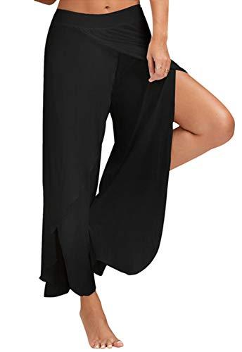 FITTOO Pantaloni Yoga da Donna Larghi Harem Pants per Sport Gym Fitness, Nero, S