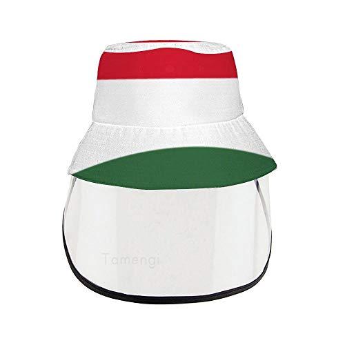 Ungarn-Flagge Fischerhut mit abnehmbarer PVC-Gesichtsschutzmaske wasserdicht Anti-UV Anti-Saliva Kappe Schutz für Damen und Herren