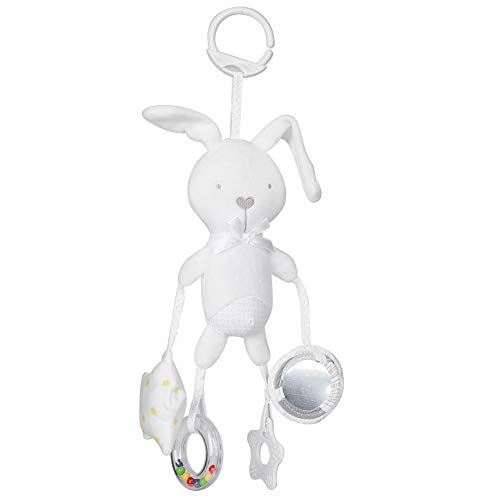 Juguete de muñeca infantil, cochecito de mordedor, juguete de campana colgante no tóxico, para niños, bebés(White rabbit)