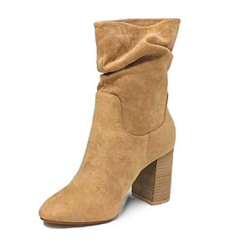 Cwypxl Mujer Botas con TacónTranspirable Botines Zapatos de Martin de Tubo Medio de Ante con Punta Cuadrada y tacón Medio de Estilo Nacional,B,38