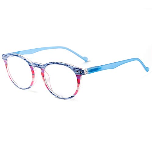 ROSA&ROSE Pack de 1 Gafas Ordenador Anti luz Azul Marco de Redondo Gaming PC Azul luz Filtro Proteccion Gafas Evita la Fatiga Ocular para Mujer Hombre - Bisagras Resorte/Lentes Transparentes