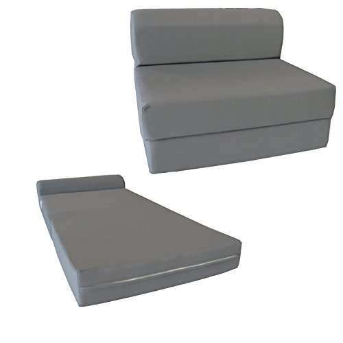 D&D Futon Furniture Gray Sleeper Chair Folding Foam Bed 6 x 48 x 72 inches, Studio Guest Beds, Sofa.