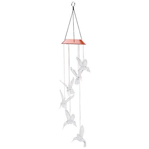 Yosoo Carillon à Vent Solaire en Forme d'oiseau Rétro En Métal Élégantes Décoration Ornement Cadeaux Pour Jardin Maison (transparent)