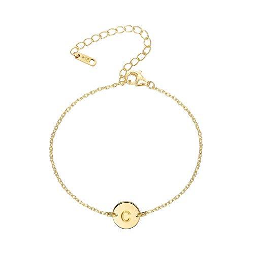 18K Gold Plated Stainless Steel Initial Bracelet Personalized Letter Charm Bracelet Small Dainty Disc Monogram Name Bracelet for Women (C) B C Gold Bracelets