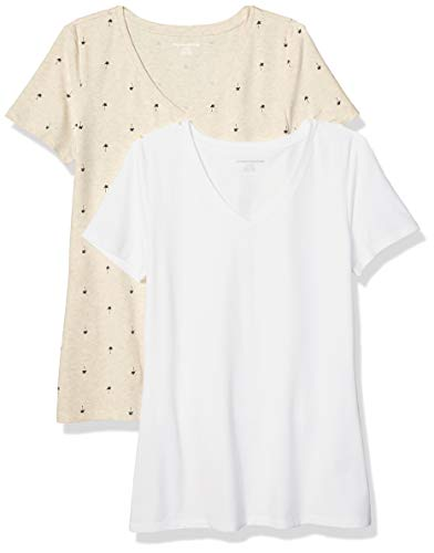 Amazon Essentials Damen-T-Shirt, klassisch, kurzärmlig, V-Ausschnitt, 2er-Pack, Oatmeal Palm/White, Large