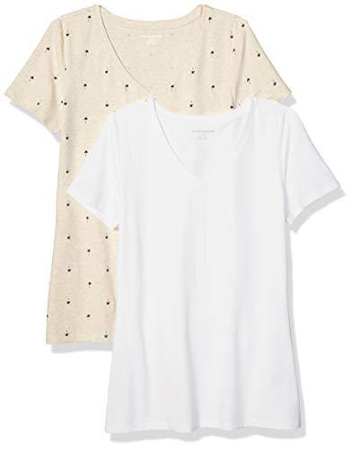 Amazon Essentials Camiseta de manga corta clásico con cuello en V, Mujer, Beige (Beige (Oatmeal Palm/White)), M, pack de 2