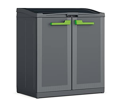 Keter Armadio per la Raccolta Differenziata Moby Recycling con 3 Scomparti, Antracite, 90 x 55 x 100 cm, 110 Litri Sacchetti non Inclusi