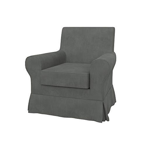 Soferia Ersatzbezug fur IKEA EKTORP JENNYLUND Sessel, Stoff Majestic Velvet Grey, Grau