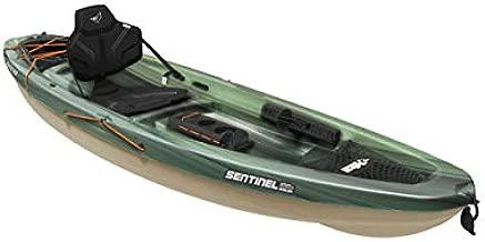 Pelican Sit-on-Top Kayak - Sentinel 100X - 9.5 Feet - Lightweight one Person Kayak (Fade Black Green/Light Khaki, Angler/Fishing) (MBF10P100-00)