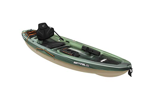 Pelican Sit-on-Top Kayak - Sentinel 100X - 9.5 Feet - Lightweight one Person Kayak (Fade Black Green/Light Khaki, Angler/Fishing) (MBF10P100-00)