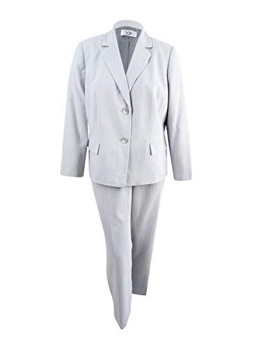 Le Suit Women's Plus Size Pinstripe 2 Button Pant Suit, Navy Multi, 18W