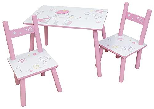 Fun House Unicornio Mesa Rectangular H.41, 61 x 42 cm + 2 sillas H.49,5XL.31x.31,5 cm para niños, MDF, Blanco Rosa