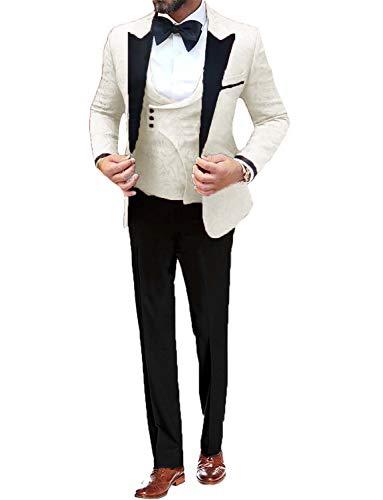 UMISS Herren 3 Stück Anzug Blumen Slim Fit Jacquard Smoking Muster Print Party Abendessen Jacke Weste Hosen Sets