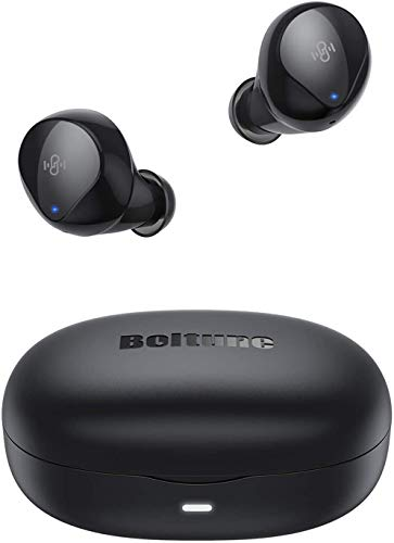 Wireless Earbuds, [Upgraded] Boltune Bluetooth 5.0 Built-in Mic CVC 8.0 Bluetooth Earbuds, Stereo Sound Deep Bass, IPX8 Waterproof Touch Control in-Ear Headphones Single/Twin Mode for Sport