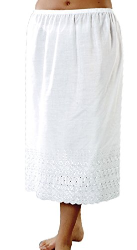 Socks Uwear Damen Petticoat mit elastischer Taille, halber Slip, mit hübscher Stickerei, 68,6 cm lang, Weiß – 40