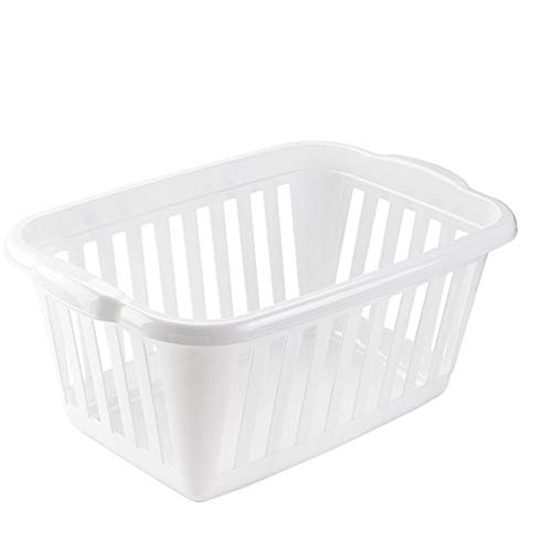 Plastic Forte - Cesta para la ropa rectangular, Pongo todo de plástico ,Cesta colada multicolor, Disponible 6 colores Para elegir que te más preferida (Blanco)