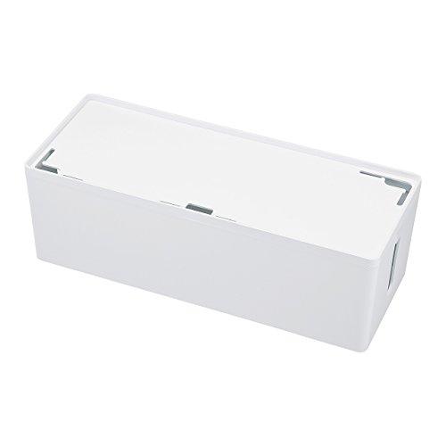 サンワサプライ ケーブル&タップ収納ボックス Lサイズ ホワイト CB-BOXP3WN2