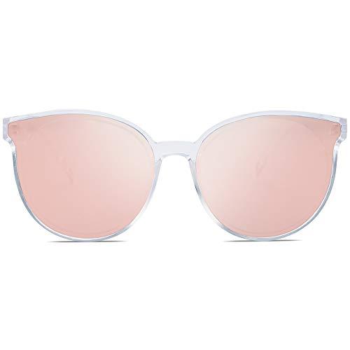 SOJOS Runde Sonnenbrille Damen UV-Schutz Groß Fashion Design SJ2057 mit Transparent Rahmen/Rosa Verspiegelte Linse
