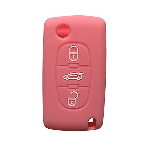 LOOIUEX Silicone Key Cover Funda para Llave de Coche, protección de Goma de Silicona C-Triomphe Xsara para Peugeot 307308407207 SW Berlingo para Citrien C3 C4 Picasso, Rosa