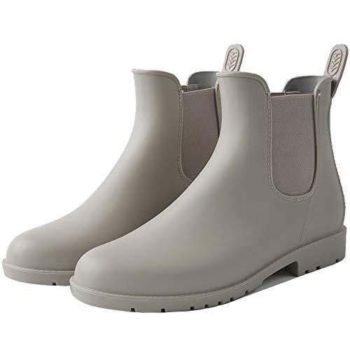 Zkyo Gummistiefel Damen Kurz Regenstiefel Herren Wasserdicht Chelsea Boots Halbe Regenschuhe rutschfeste Gummi Stiefel mit Blockabsatz Grau 37
