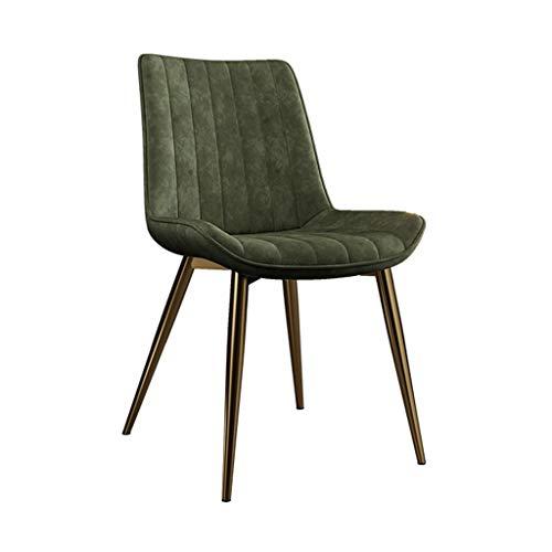 zyy Sillas de cocina de cuero sintético sillas de comedor PU asiento tapizado con patas de metal, sillas de comedor de cocina para salón, ocio, sala de estar, sillas de esquina (color: verde)