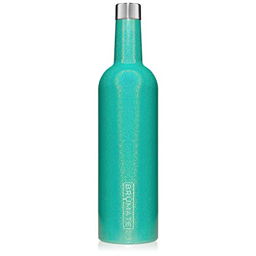 BrüMate Winesulator 25 Oz Triple-Walled Insulated Wine Canteen Made Of Stainless Steel, 24-hour Temperature Retention, Shatterproof, Comes With Matching Silicone Funnel (Glitter Peacock)