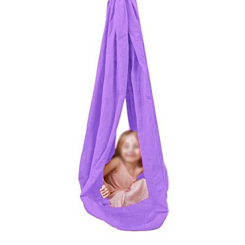 WCX Columpios De Interior Sensorial Hamaca De Abrazos Conjunto Niños Terapia Adolescentes Más Especial Necesidades Autismo TDAH Asperger (Color : Lavender, Size : 100x280cm)