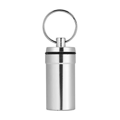 TOPINCN Aluminium Pil Fles Waterdichte Klimpil Doos Medicine Case Fles Container Sleutelhanger 1 pc sliver