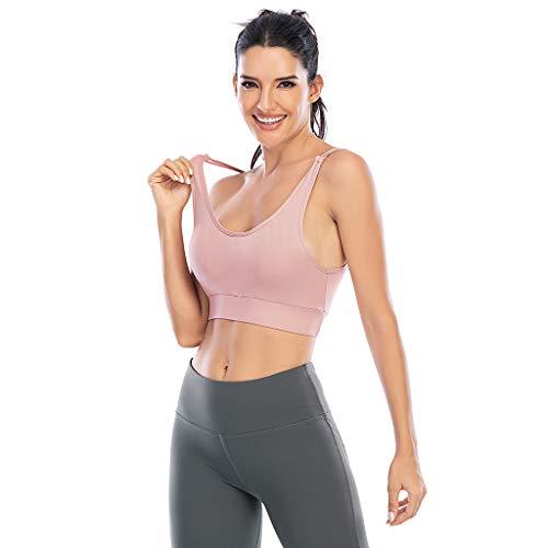 Loalirando - Reggiseno sportivo da donna, canottiera corta, yoga, fitness, palestra, senza spalline, incrociate, con cuscinetti rimovibili Rosa XL