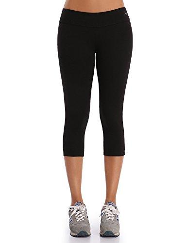 Wingslove Damen Capris Yoga Sporthose Laufenhose 3/4 Leggings Training Sport Strumpfhosen(Schwarz, L)