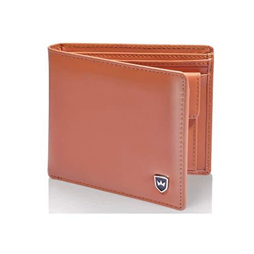 Kronenschein® Premium Geldbörse Herren Portemonnaie aus Nappa Leder Geldbeutel Männer Brieftasche RFID Schutz Wallet Portmonee Herrengeldbeutel (Orangebraun)