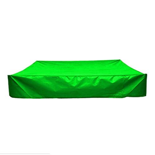 DJLOOKK Cubierta cuadrada para arenero, resistente al agua, a prueba de polvo, protección UV, cubierta de piscina cuadrada con cordón para arenero, juguetes y muebles, verde, 150 x 150 x 20 cm