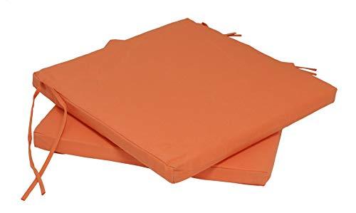 DEGAMO 2x Sitzkissen BAD TÖLZ für Gartenstühle 40x41cm, terracotta