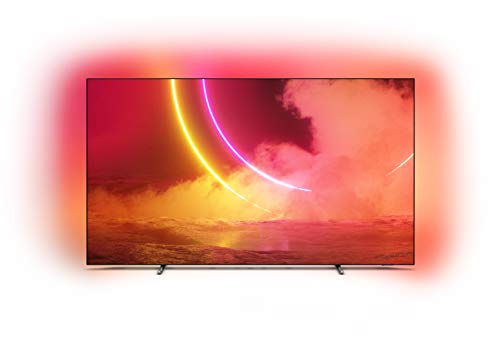 Philips Ambilight 55OLED805/12 55-Inch OLED TV (4K UHD, P5 AI Perfect Picture Engine, Dolby Vision, Dolby Atmos, HDR 10+, Works with Alexa, Android TV) Gun Metal Grey/Dark Chrome (2020/2021 Model)