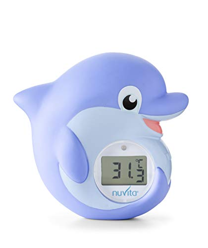 Nuvita 1006 | 2 en 1 | Termómetro Baño Bébé Digital para Casa, Habitación y Agua de Baño | Alarma LED (Rojo - Azul) | Juguetes para Bañera Certificado EN71 | Marca Europea | Delfín Azul