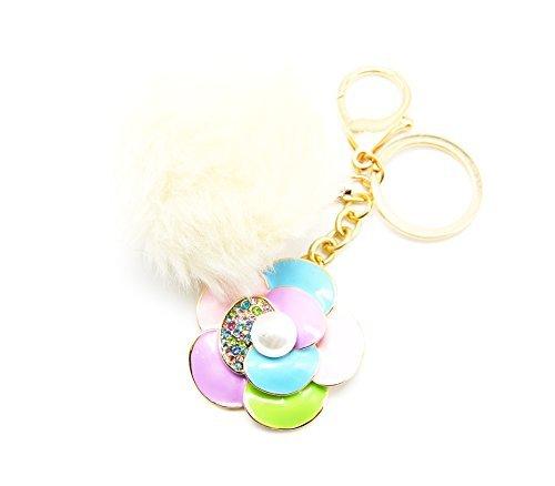PT601-Llavero, diseño de joya, diseño de bolsa de pétalos de colores, diseño de flores con perlas y venta al por mayor de pompón, color Beige/multicolor con diseño de moda