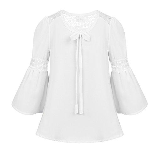 iixpin Mädchen Chiffon Trompetenärmeln Shirts Chiffon Kurzarm Top Bluse mit Schleife Sommer Bluse Kinder Kostüm, Gr.104-176 Weiß 128-140