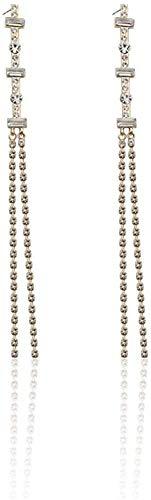 JIAJBG Earingings Mujeres Larga Tassel Pendientes Adelgazantes Pendientes de Diamante Chapado en Diamante 18K Pendientes Pop Student Pendientes Adecuados para Fiestas, Trabajo Y Via