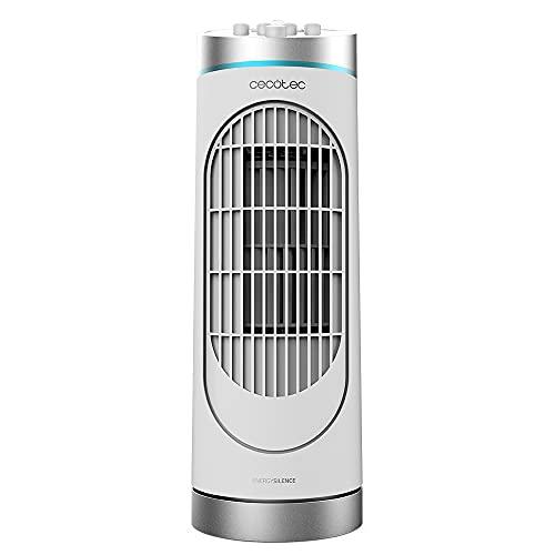 Cecotec Ventilador de Torre EnergySIlence 3000 DeskTower. 30 W, Altura 15' (38 cm), 3 Velocidades, Oscilación, Temporizador 2 h, Control manual, Blanco