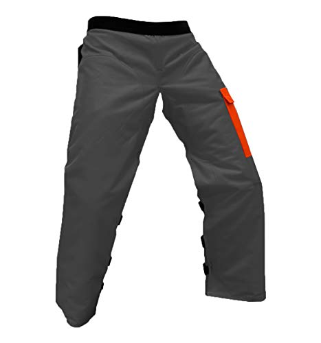 FORESTER Chainsaw Apron Chaps with Pocket, Gray/Orange 37 Length with Adjustable Belt