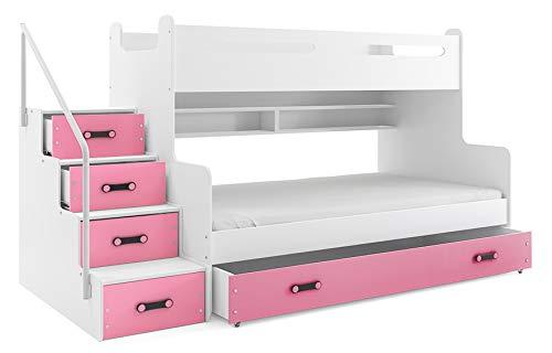 Cama litera triple MAX 3 (para tres niños) 200x80 y 200x120m , COLOR BLANCO - rosa , todo includo! PRECIO MAS BAJO!…
