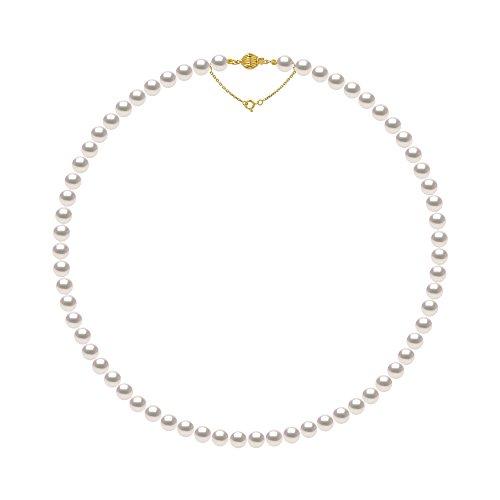 Pearls & Colors - Collana Perle di Coltura Akoya Rotonde 8-8.5 mm - Origine Giapponese Certificata - qualità AA+ - Chiusura e Catena di Sicurezza Oro 750 (18 carati) - Gioiello da Donna