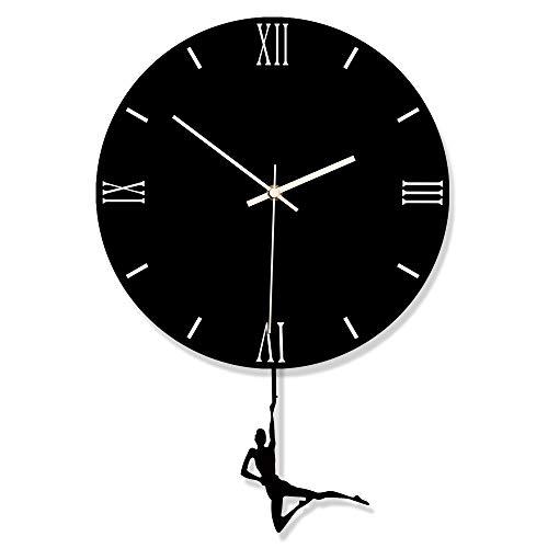 GZGJ DIY Acryl Schaukel Wanduhr Gästezimmer Schlafzimmer Esszimmer Hängen Dekorative Uhr Stumm Schwarz