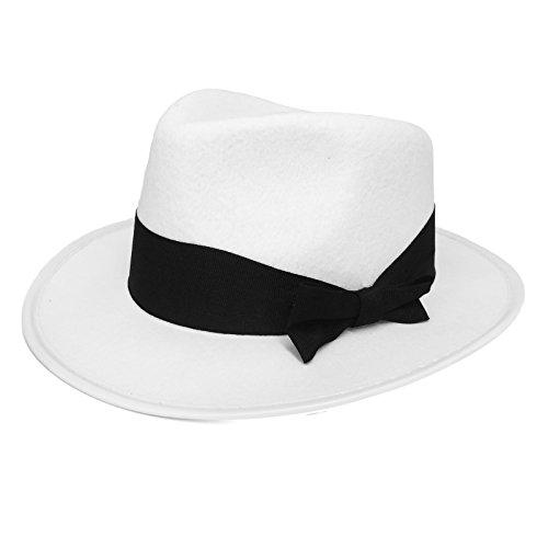 ILOVEFANCYDRESS Un Chapeau pour Adulte Blanc à Bande Noire avec Un Petit nœud de 60cm. Idéal pour Les Jours de Soleil.