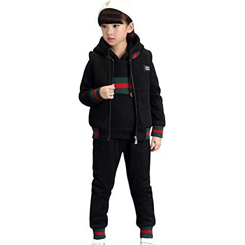 SXSHUN Kinder Mädchen Jungen Winter Trainingsanzug Jogginganzug Sportanzug 3tlg Bekleidungsset Sweatjacke + Hose + Weste, Schwarz, 104/110 (Etikettengröße:110)