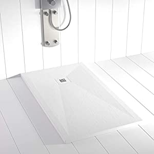 Shower Online Plato de ducha Resina PLES - 80x110- Textura Pizarra - Antideslizante - Todas las medidas disponibles - Incluye Rejilla Inox y Sifón - Blanco RAL 9003