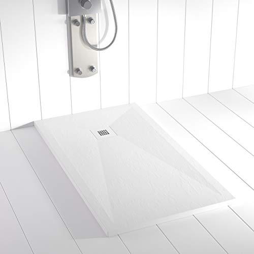 Shower Online Plato de ducha Resina PLES - 70x80 - Textura Pizarra - Antideslizante - Todas las medidas disponibles - Incluye Rejilla Inox y Sifón - Blanco RAL 9003