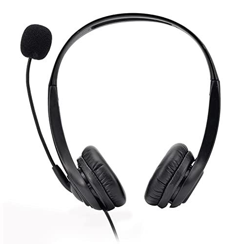 Aibecy Auriculares de centro de llamadas con micrófono Auriculares de doble cara Con cable USB con micrófono ajustable Botón de control de volumen de silencio